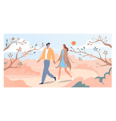 Lovely couple walk springtime bloom tree and vector