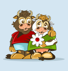 Lovers bull and cow are drawn in animation style vector