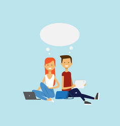Man woman using laptop sitting couple chat bubble vector