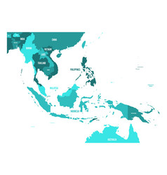 Map of southeast asia in shades vector
