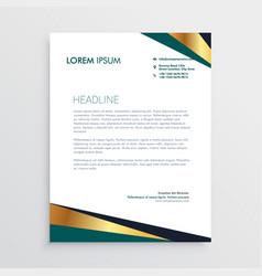 Modern geometric golden letterhead design vector
