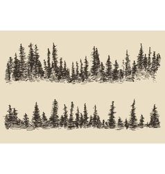Mountains contours fir forest engraving vector