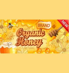 Natural organic honey banner vector