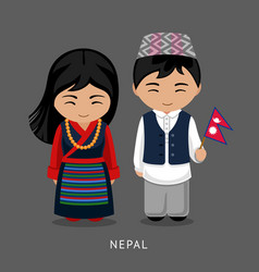 Nepalese in national dress with a flag vector