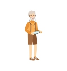 Old Man With Tablet And Headphones vector