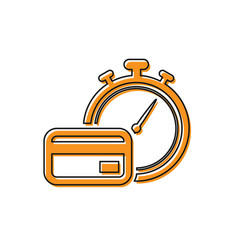 Orange fast payments icon isolated on white vector