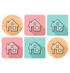 Outlined icon of home with parallel vector