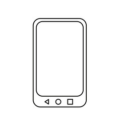 Outlined smartphone on white background vector