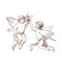 Pair of flying cupids or angels carrying bunch vector