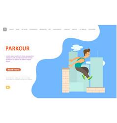 Parkour website extreme sport outdoor activity vector