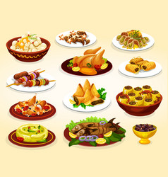 Ramadan dishes of grilled meat fish and desserts vector