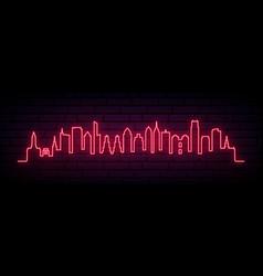 Red neon skyline philadelphia city vector