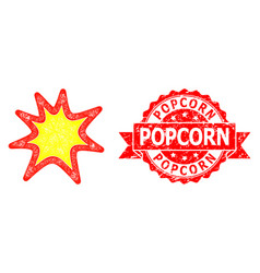 Rubber popcorn seal and net exploding boom icon vector