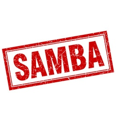 Samba red square grunge stamp on white vector