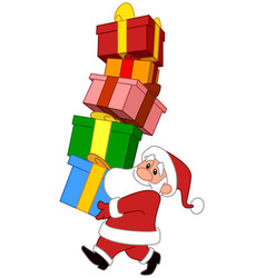 Santa with gifts stack vector