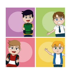 school boys cartoons vector image