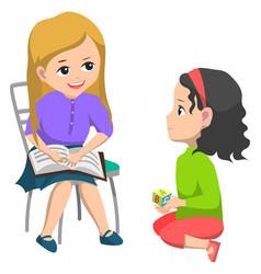 School education girl book talking to classmate vector