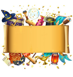 scroll with magic accessories vector image