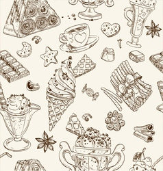 Seamless pattern of candy and ice cream vector image