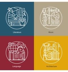Set logos literature music language vector