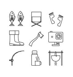 set of adventure thin line icon symbol design set vector image