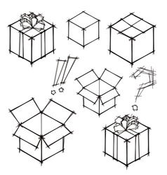 Set of black and white sketches of gifts vector image