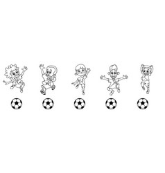 set of contour soccer players kicking the ball vector image