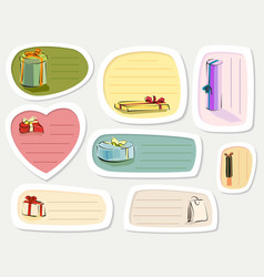 Set of label with presents in cartoon style vector