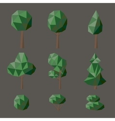 Set polygonal deciduous vector image