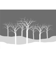 Silhouettes of dry tree forest vector