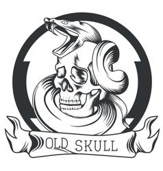Skull snake ribbon logo vector image