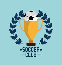 soccer club ball trophy award championship vector image