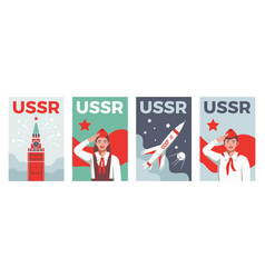 soviets vertical posters set vector image