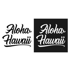 summer lettering of aloha hawaii vector image