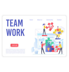 teamwork smart organization landing page vector image