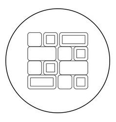 Tile icon black color in circle vector