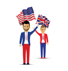 usa and uk flag waving people vector image