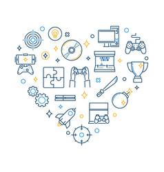 video game line icons in heart shape vector image