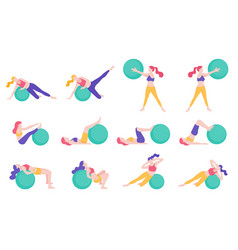 women fitness exercise ball workout posture vector image