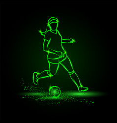 women soccer player running with ball vector image