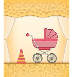 Yellow baby card vector
