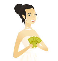 Young asian fiancee holding money vector