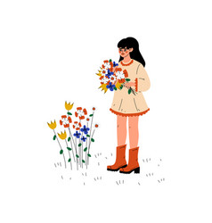 Young woman picking up flowers girl working in vector