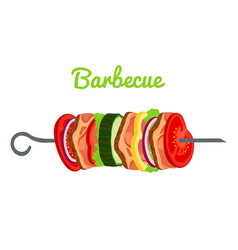 barbecue with meat vegetables fried meat vector image