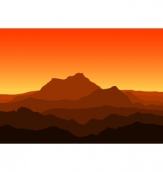 mountains at dusk vector image vector image