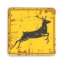 Old metal road warning sing with deer silhouette vector image