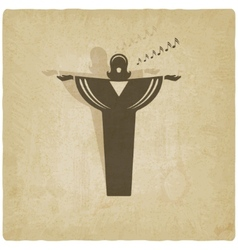 opera singer symbol old background vector image