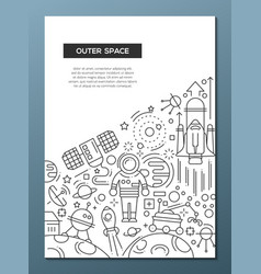 outer space - line design brochure poster template vector image