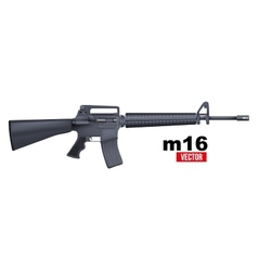Realistic M16 rifle isolated on a white vector image