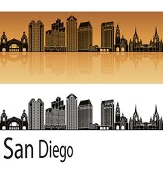 San Diego skyline in orange vector image